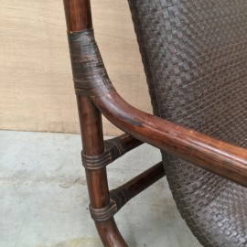 Bamboo & leather lounge chair