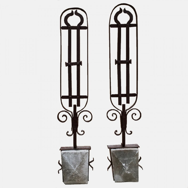 Pair wrought iron ornaments