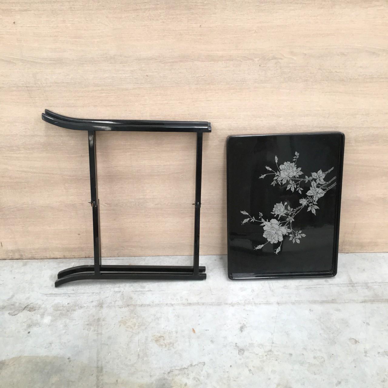 Black Acrylic Zella Accent Table: Vintage Plastic Black Side Table
