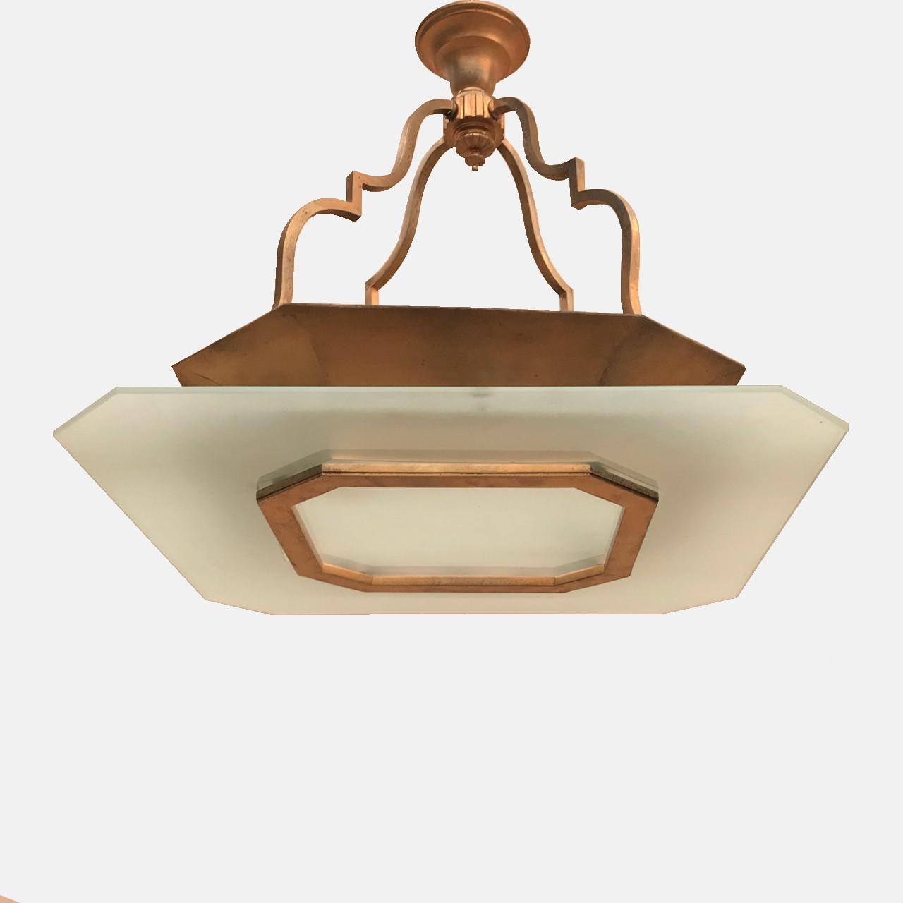 Mid Century brass & glass chandelier