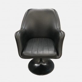 Black leather swivel armchair