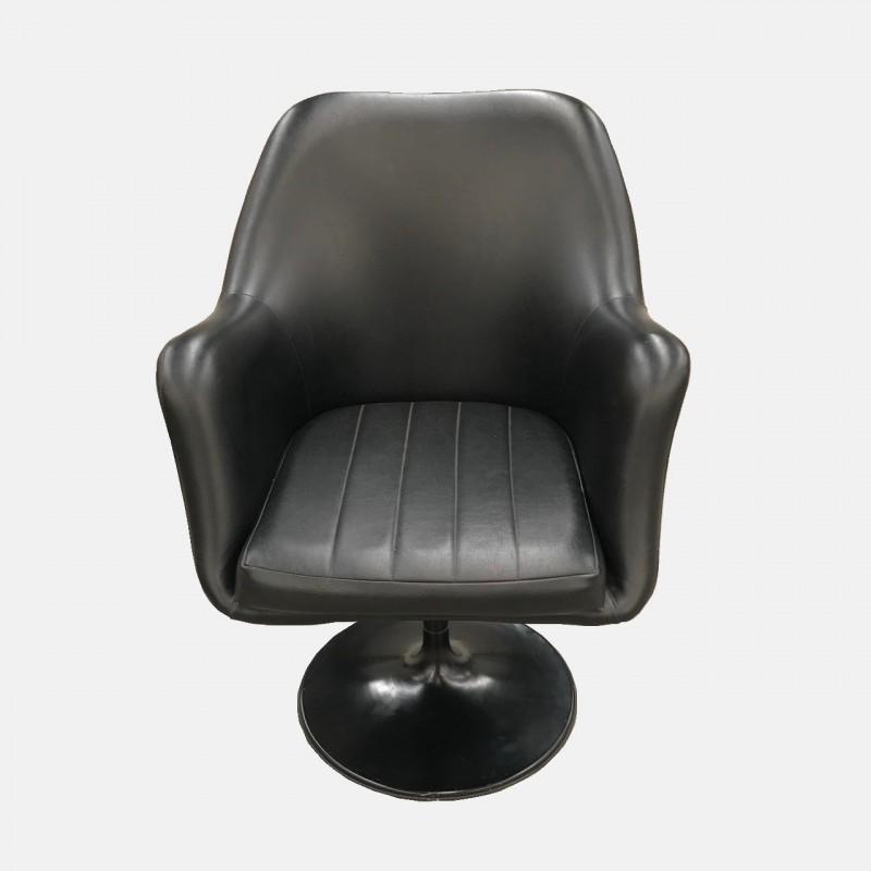 Black leather swivel armchair
