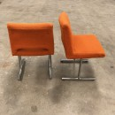 Pair 1970's orange side chairs
