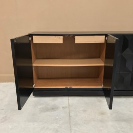 Brutalist black oak sideboard