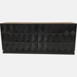 Brutalist black oak sideboard