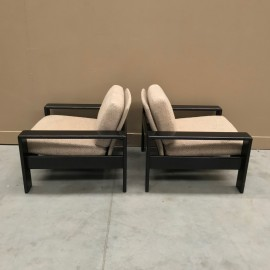 Pair of 1970's bend oak armchairs
