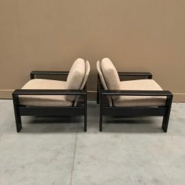 Pair of 1970's bend oak armchairs