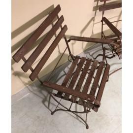 Pair folding garden armchairs