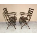 Pair folding garden armchairs